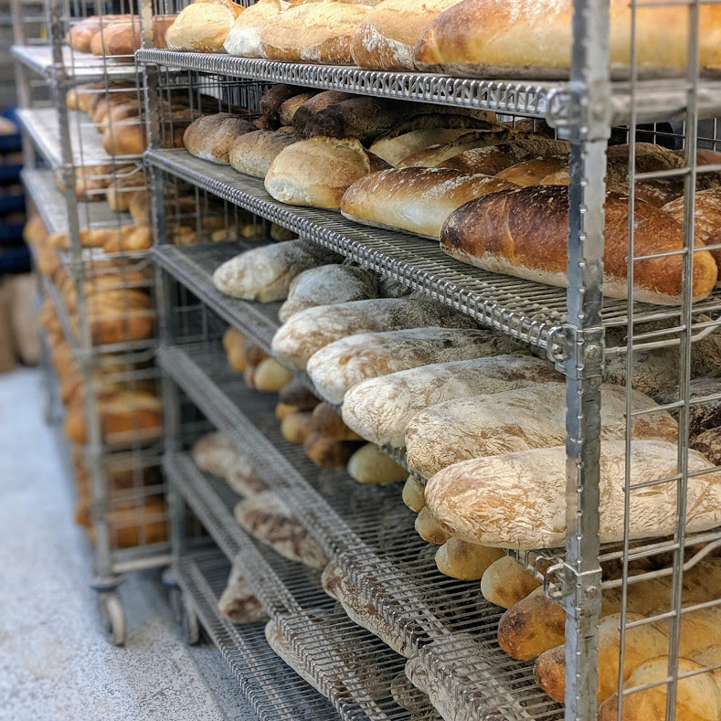 Artisan loaves fresh from the oven